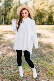 Warms my Heart Mock neck Sweater: off white - Shop Amour Boutique Online