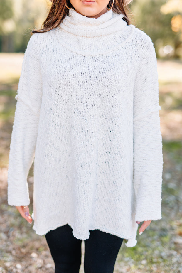 Warms my Heart Mock neck Sweater: off white