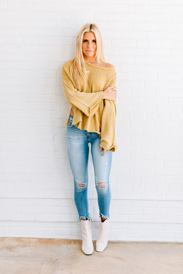 Lean on Me Mustard Knit Top
