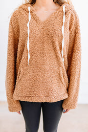 Soft and Fuzzy Hooded Pullover: Tan