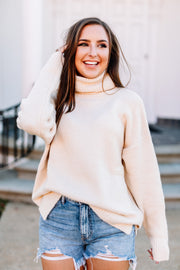 Oversized Turtleneck Pullover Sweater - Shop Amour Boutique Online