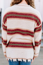 Love my Stripes Distressed Sweater