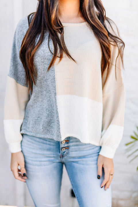 Favorite Color Block Sweater: Grey/Beige - Shop Amour Boutique Online