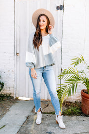 Favorite Color Block Sweater: Grey/Blue - Shop Women dresses, Women essentials, tops, bottoms, shoes & more..