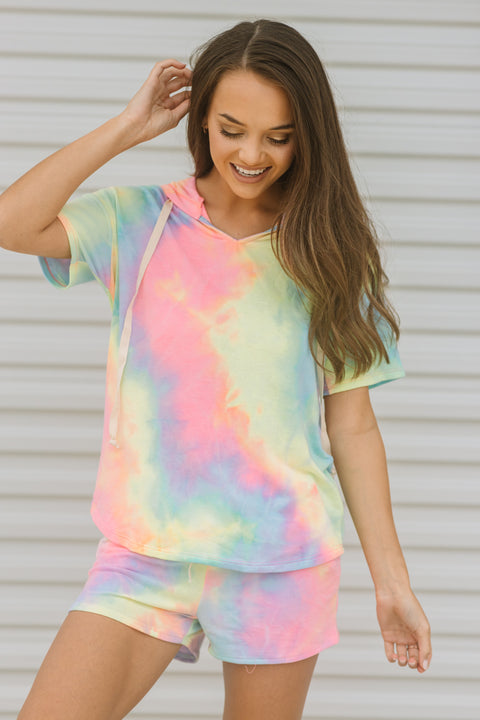 Cotton Candy Tie Dye Hoodie Top - Shop Amour Boutique Online