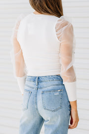 Can't Stop Me Puff Sleeve Organza Top: Off White - Shop Amour Boutique Online