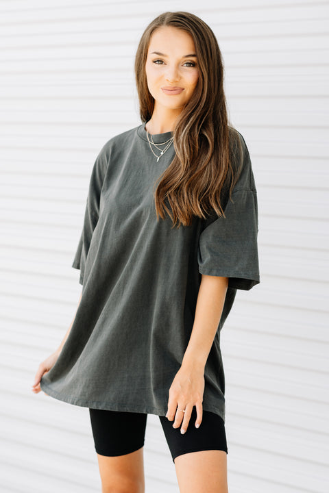 Your Favorite Oversized Tee: Charcoal - Shop Amour Boutique Online