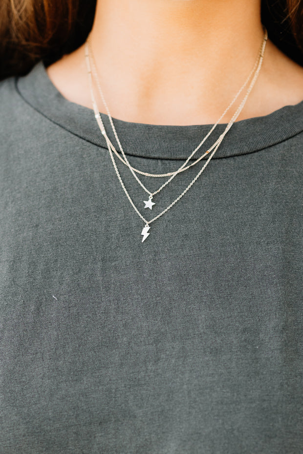 3 Layer Lightning & Star Necklace - Shop Amour Boutique Online
