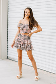 Pink Paisley Ruffle Leaf Skirt - Shop Amour Boutique Online