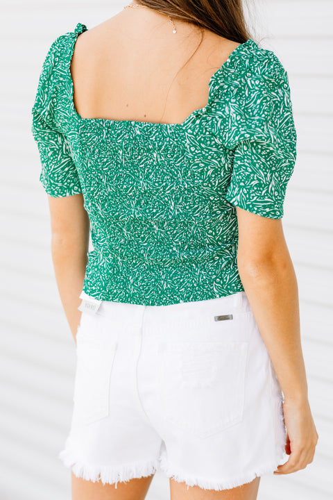 Short and Sweet Green Printed Top - Shop Amour Boutique Online