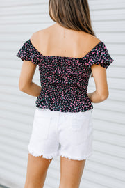 Smocked Floral Top: Black - Shop Amour Boutique Online