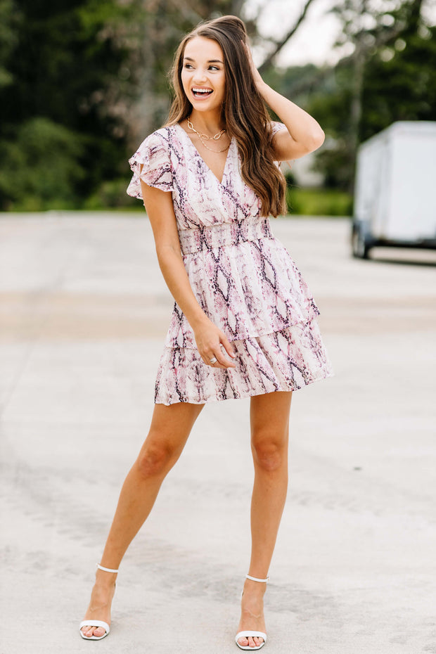 Catching my Eye Pink Snake Print Dress - Shop Amour Boutique Online