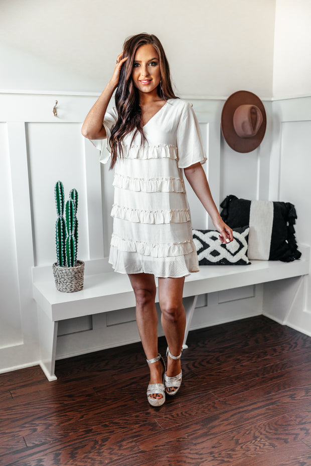 Ruffles for the Win Dress: Natural - Shop Amour Boutique Online