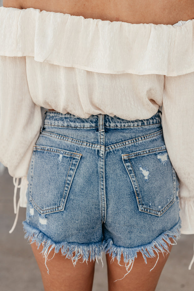 Distressed Frayed Denim Shorts - Shop Amour Boutique Online
