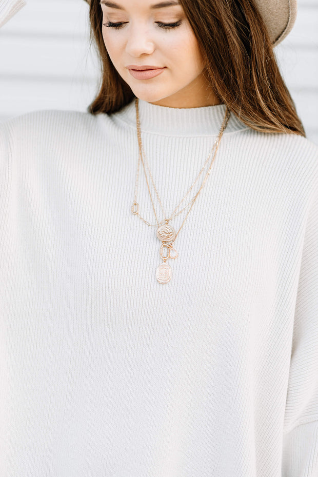 Double Coin Layered Chain Necklace - Shop Amour Boutique Online