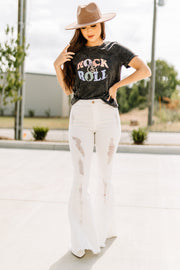 Distressed White Denim Flares - Shop Amour Boutique Online