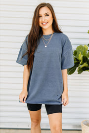 Not Your Boyfriends Tee: Blue Night - Shop Amour Boutique Online