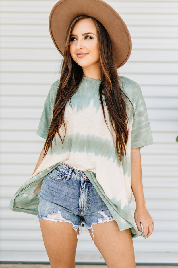 Making Waves Tie Dye Top: Faded Sage - Shop Amour Boutique Online