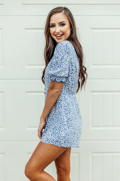 Not feeling Blue Floral Romper - Shop Amour Boutique Online