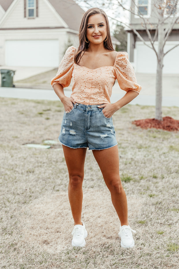 Distressed Denim Shorts - Shop Amour Boutique Online