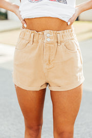 Paper Bag Khaki Denim Shorts