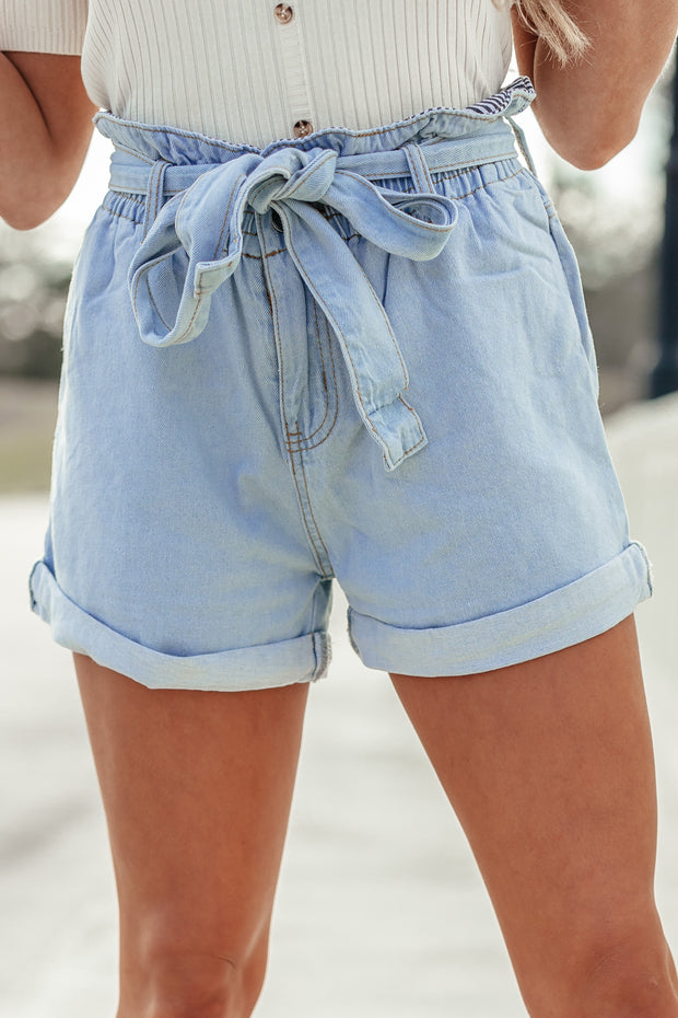 Belted Denim Shorts - Shop Amour Boutique Online