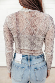 Snake Print Mesh Bodysuit - Shop Amour Boutique Online