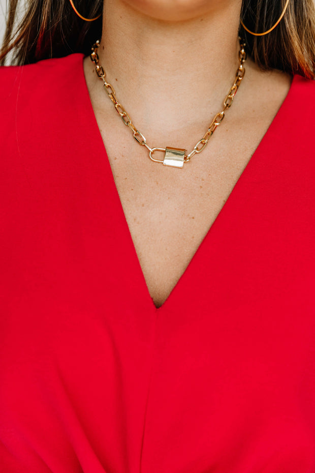 Lock Pendant Chain Necklace - Shop Amour Boutique Online