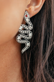 "2.5"" Paved Snake Earrings - Shop Amour Boutique Online"