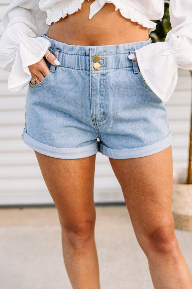 High Waist Roll Up Denim Shorts - Shop Amour Boutique Online