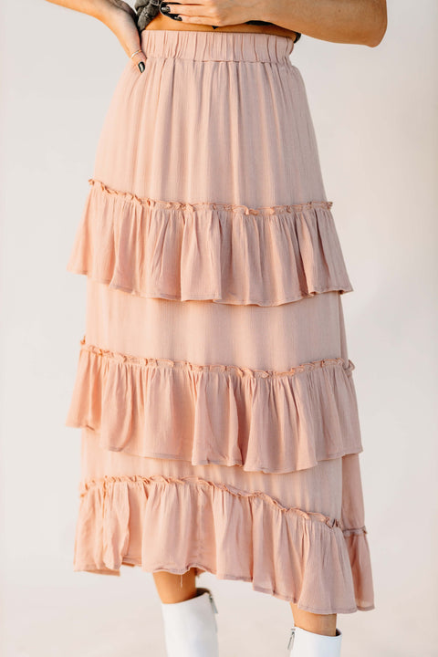 Away We Go Ruffle Midi Skirt - Shop Amour Boutique Online