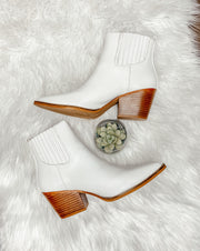 Faith White Snake Skin Bootie