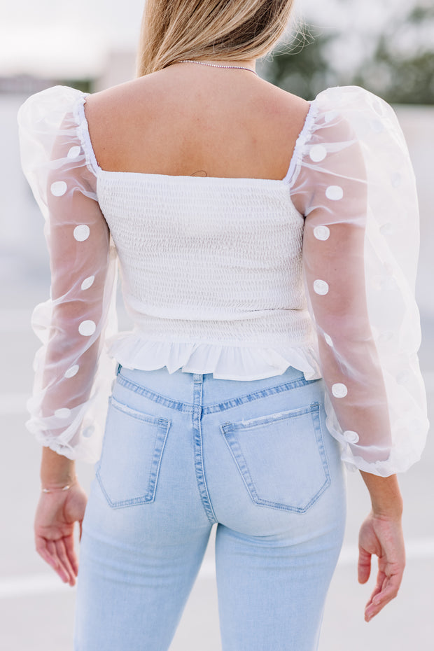Polka Dot Smocked Top: White
