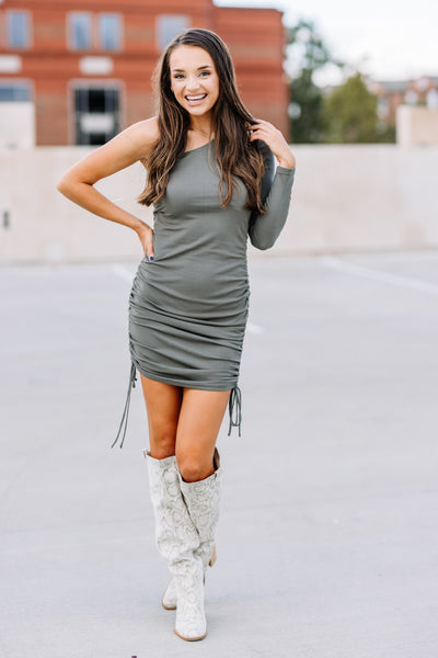 You're the One Ribbed Dress: Olive