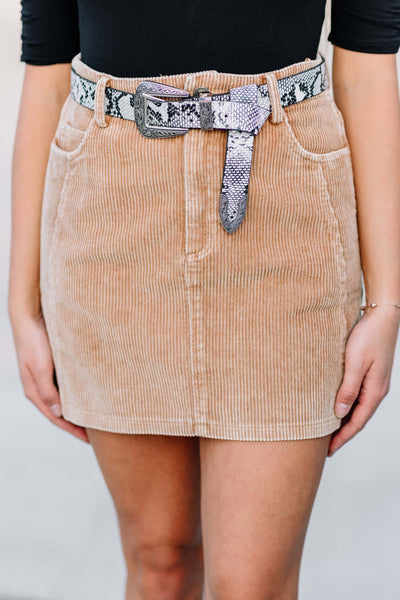 Washed Cord Skort: Camel