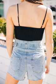 Knit Spaghetti Sweater Crop Top