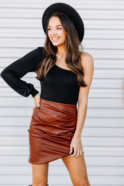 By My Side Faux Leather Skirt