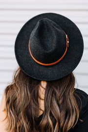 Brown Leather Belt Panama hat: Black