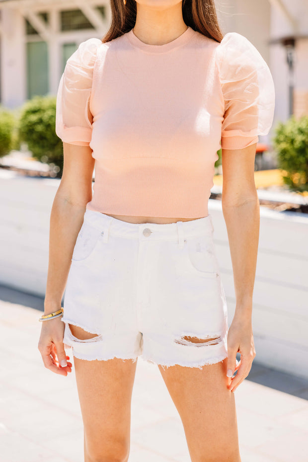 White Distressed Denim Shorts