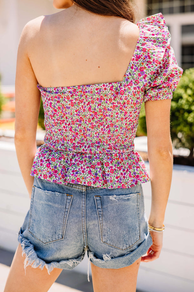 You're the One Shoulder Floral Top
