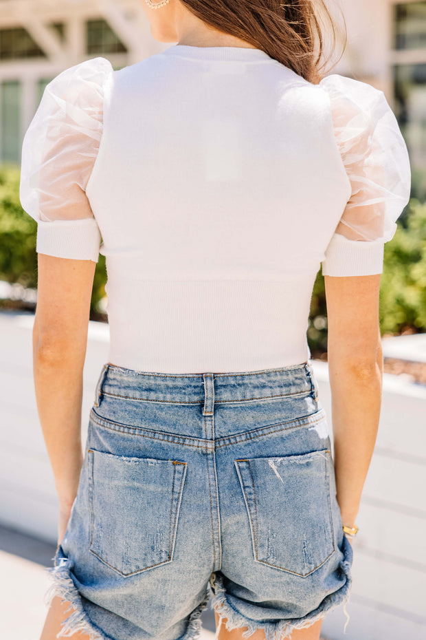 Can't Stop Me Puff Sleeve Top: Off White