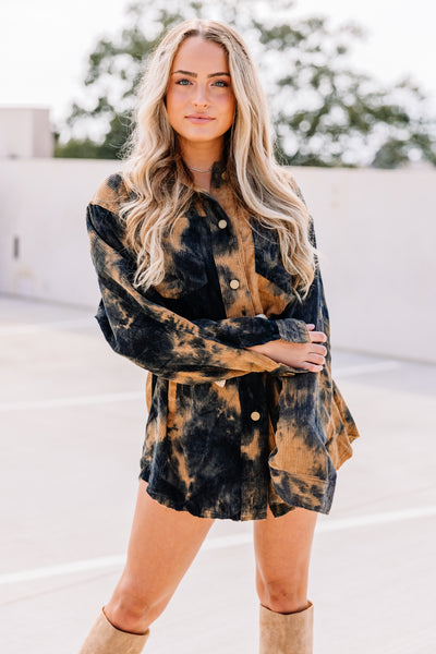 Tie Dye Corduroy Shirt Dress/Jacket