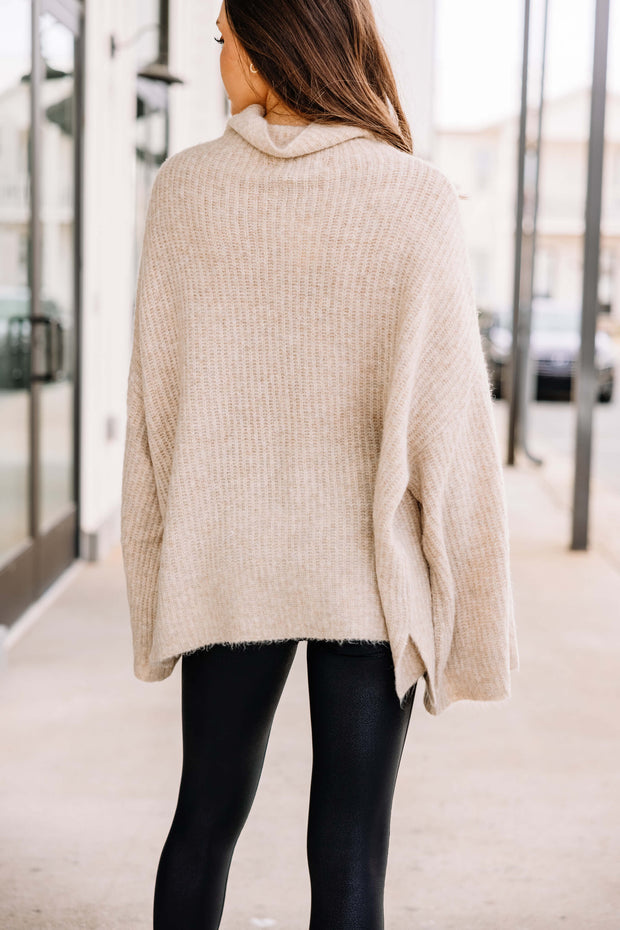 Just for You Knit Sweater: Oatmeal