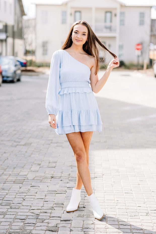 Skies are Blue One Shoulder Dress