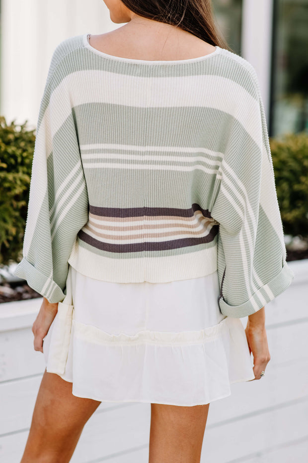 Spring Vibes Cropped Sweater: Sage
