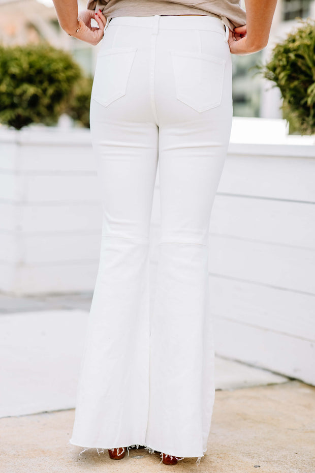High Rise Flare Jeans: White