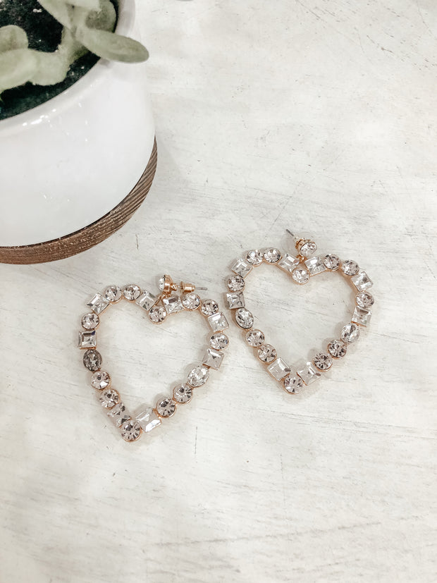 Heart Rhinestone Earrings - Shop Amour Boutique Online