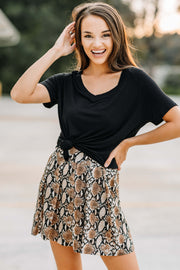 Pleated Snake Print Shorts - Shop Amour Boutique Online
