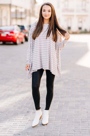 Over You Oversized Knit Tunic: Oatmeal