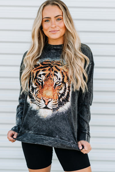 Acid Washed Tiger Sweatshirt - Shop Amour Boutique Online